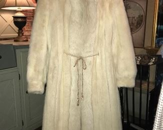 Full length blush mink coat with fix trim—stunning. Family Tree's own Bethany shows off this coat beautifully!
