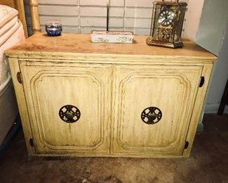 Vintage bedside chest by Davis Cabinet—top needs some TLC.