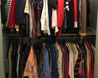Closets full of clothing, assorted sizes, primarily from the 1980s through 1990s.