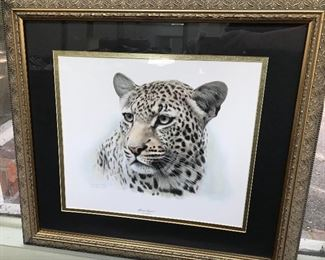 African Leopard print by James Frace, signed.
