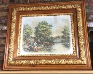 Antique print in ornate antique frame.