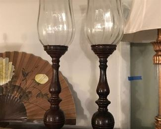 Tall candlesticks with globes