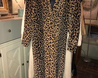 Full length leopard print velvet coat