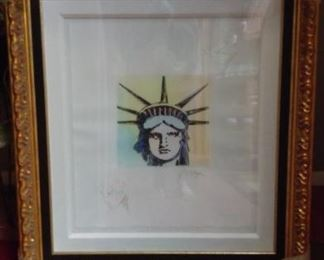 "One of a kind Peter Max ""Lady Liberty"". 3ft in height 2.5 ft width. This is a large framed piece. COA and original appraisal"