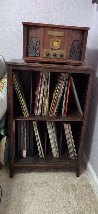 Vintage record cabinet / replica vintage  record player various records
