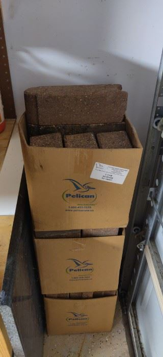 "3 boxes full of landscape  12"" bricks"