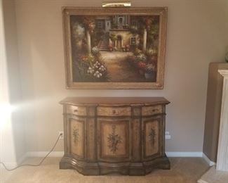 "Painting - H - 43"", W - 55"" , $100                                                           Wood Hutch - Quality constructed with beautiful painted accents.  W - 56"", D - 19"", H - 36"", $200"