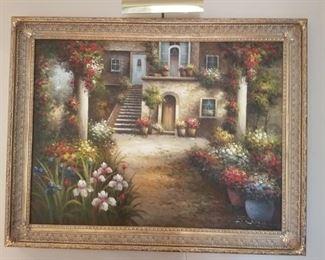"""Painting Villa & Garden:  H - 43"""", W - 55"""", $100"""