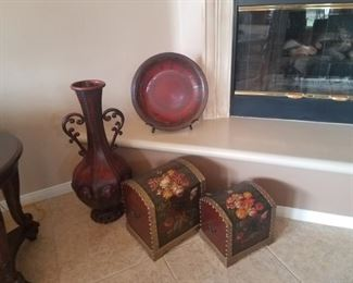 Tall Metal Vase  - $30, Set of two Flower Chests - $25, Large Plate w/Stand, $30
