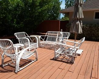 5 Piece Wicker Patio Set, Umbrella and Stand