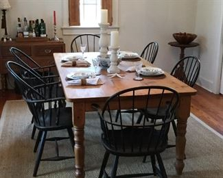 Solid wood farm table and chairs