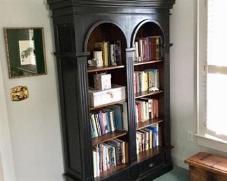 Solid wood black bookcase with arch design