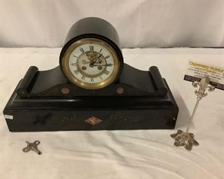 Lot 61 - Antique French R. Marti mantle clock with skeleton face, carved stone base and brass detail