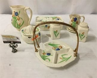 Lot 73 - Moriyama mori-mechi 1926-1929 Iris Pattern Japanese pottery set incl. 2 pitchers, a tray, lidded