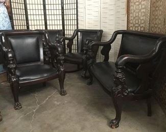 Lot 42 - 5 pc set - Antique French Empire Carved Mahogany Couch/Chairs with Leather Cushioned Seats