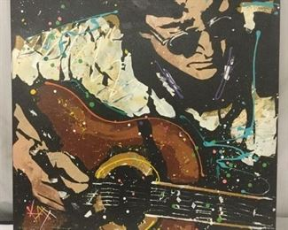 Lot 110 - Original Lennon on Acoustic by KAT. 2007. Acrylic on Canvas - signed w/ COA - est value 15,000-65,000