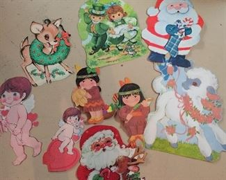 Lots more not pictured - vintage 70's cardboard cutouts - ALL holidays