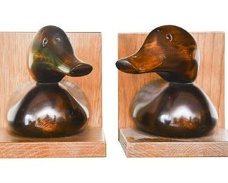 5. Pair of Wooden Duck Decoy Bookends