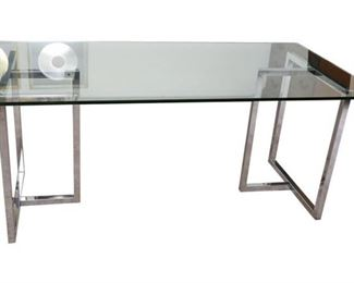 9. Contemporary Glass Top Dining Table or Desk