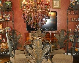 ASHLEY DINNING TABLE & IRON LEAF BACK CHAIRS WITH LARGE MULTI COLOR CHANDELIER