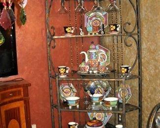 IRON CORNER SHELF WITH WINE BOTTLE AND GLASS RACKS