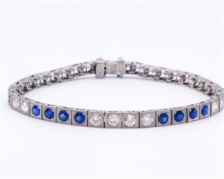 Art Deco Diamond and Sapphire Bracelet in Platinum (Possibly Tiffany & Co.)