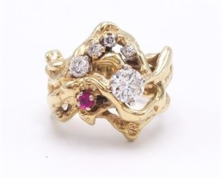 One-of-a-Kind Custom Diamond and Ruby Estate Ring in Heavy 14k Yellow Gold