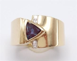 Gorgeous Alexandrite and Diamond Designer Signed Custom Estate Ring in 14k Yellow Gold