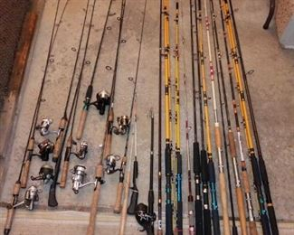 Fishing Poles with and without additional attachments including Reels and without