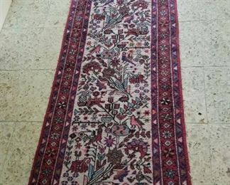 Smaller size Turkish runner, red with birds