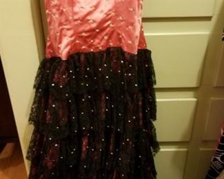 Beautiful vintage ladies black lace and pink satin evening gown sold