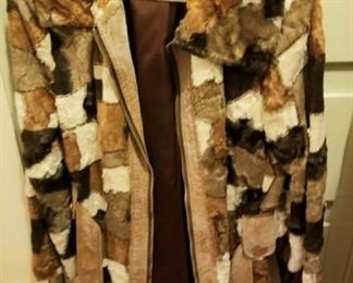 patchwork leather and fur coat from the 70's