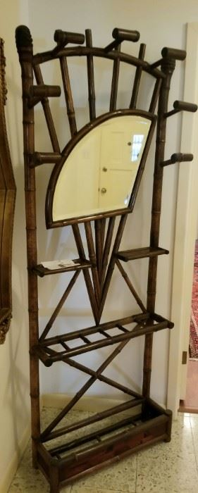 Antique English Bamboo Hall tree with beveled glass mirror sold