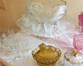 Large Crystal punch bowl on stand with cups