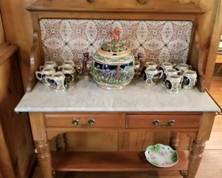 Vintage German punch bowl set with cups