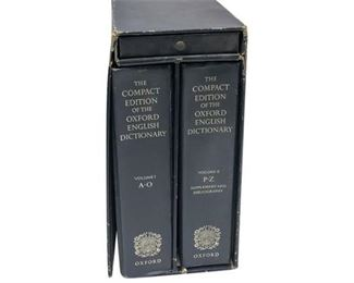 8. Antique Oxford English Dictionary with Magnifying Glass