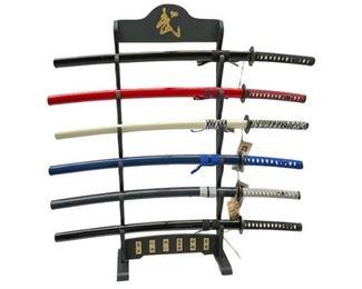 9. 6 Replica Samurai Swords With Display Rack