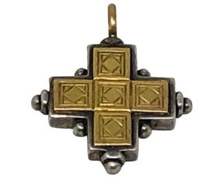 11. 18k Gold and Sterling Silver Byzantine Cross Pendant
