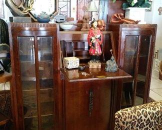 Deco Cabinet w/ Curios & Desk