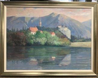 "Brosseau, ""Villa on the Lake (Geneva, Switz.) circa 1995, 45 x 52 in. framed."