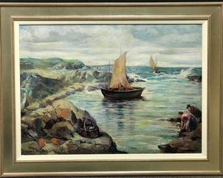 "Ch.Kellner, ""Normandy Beach, France"", oil on canvas, circa 1934, 35 x 47 framed  (28 x 38 in. canvas)"