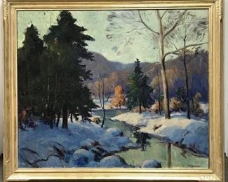 Henry Townsend, Winter Landscape, 36 x 42 in. framed, c. 1925  (30 x 36 in. canvas). Original period frame