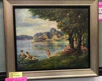 """Oscar B. Erickson  (1883 - 1968) , oil on canvas, """"The Picnic, c. 1915, (22 x 26 in. canvas)"""