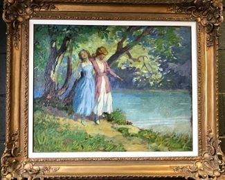 "George Varian, oil on canvas, ""Sisters"", c. 1916, 34x40 in. framed.  Sale Price $4000."