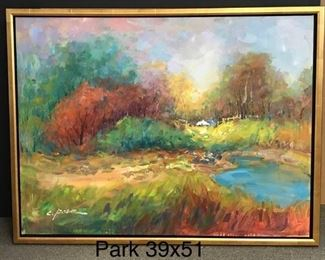 "Park, ""Season in Transitions"", oil on canvas, 39 x 51 in. as framed."