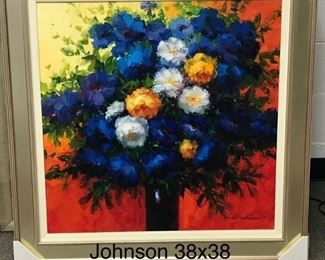"""Blue, Yellow, Red"" by Johnson, oil on canvas, 38 x 38 in. framed.  Sale price $995.00"