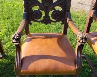 full set of 8 vintage dining room chairs - ornate wood carved handles and backs
