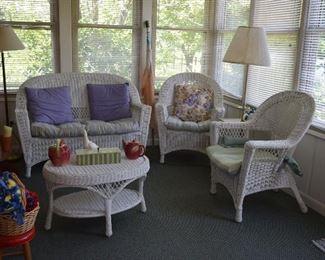 Wicker Furniture, Pillows, Floor Lamps