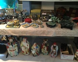 Immortals-huge table of small porcelains