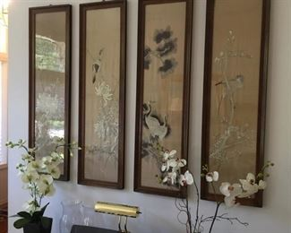 Antique silk-on-silk embroidered panels -four seasons-lovely
